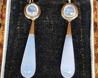 LAYAWAY FOR LAURA, first payment for early Victorian chalcedony day-to-night earrings