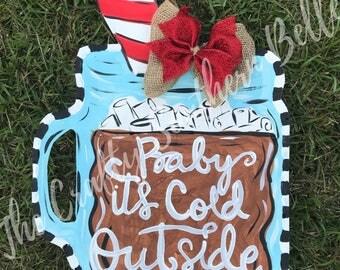 Hot Chocolate Mug Door Hanger, Christmas Door Hanger