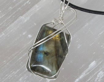 Handmade Silver Wire Wrapped Natural Golden Labradorite Pendant Necklace