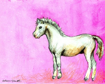 Pink Pony (original watercolor and ink painting)