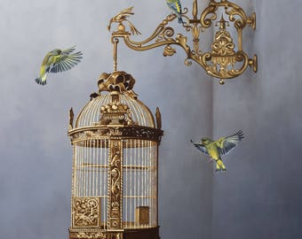 Victorian Bird Cage and Green Finches signed giclee print, wall art, decor accessory, birds and floral art, Chinoiserie