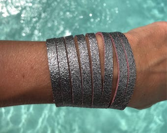Reversible Silver Shimmer/Pink Leather Cuff