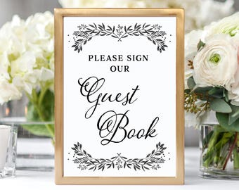 Guest Book Sign Printable Guest Book Wedding Sign Please Sign Our Guest Book Sign Printable Guest Book Sign Guest Book Sign Instant Download