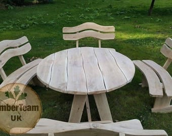 Wooden Garden Furniture Set Unique Handmade