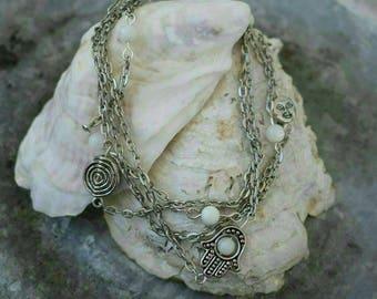 Silver chain, white beads,Hamsach, multi- chain bracelet
