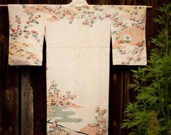 Vintage Japanese kimono, kimono robe