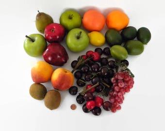 Vintage Faux Fruit  a Set of Artificial Apples, Lime, Lemons, Pear, Oranges, Cherry, Grapes, Kiwi, Peaches