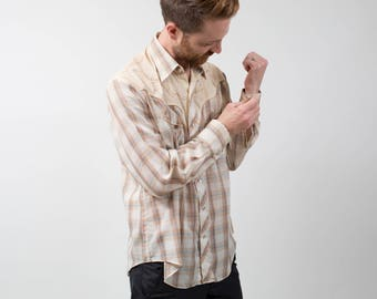 Vintage Western Shirt / 1970's Mens Medium Cream Brown Plaid Rodeo Shirt / Button up Casual Long Sleeved Campus Summer Top