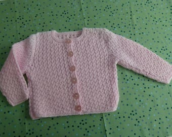 Knitted pink baby cardigan - 6-9 months
