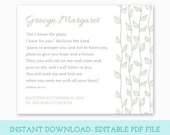BAPTISM GIFT, Baptism Printable, Editable PDF, Instant Download, Girl Baptism Gift, Boy Baptism Gift, Goddaughter Gift, Godson Gift