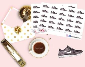Fitness Sneaker Sticker, Jogging Planner Sticker, Exercise Sticker, Tennis Shoes Sticker, Scrapbook Sticker, Planner Stationary Accessory