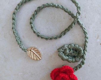 Segnalibro crochet rosa Rose bookmark