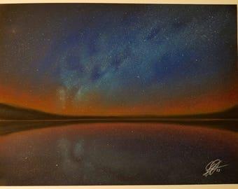 Deep Sky Exposure over Water-Pastels on Mi-Tientes paper-9x12