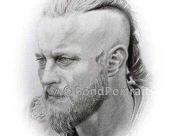 CELEBRITY PENCIL PORTRAITS - Ragnar Lothbrok Celebrity, Graphite Pencil Portrait Photo Realism, Pencil Portrait Artist Photo to Portraits