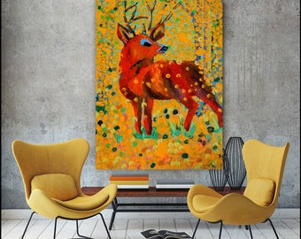Autumn showers the stag.. acrylic finger painting of stag on stretched canvas.. ready to hang..