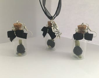 Black rose jewellery set