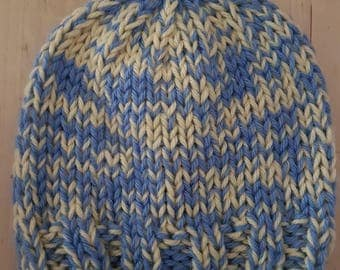 Baby Hand Knitted Beanie - Blue/yellow