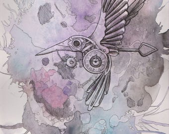 Steampunk Hummingbird Print
