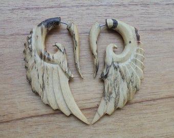 Tamarind Wood Fake Gauge Earrings, Angel Wings  Earrings, Wooden Accessories, Bali Jewelry TM 02