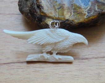 Eagle Bone Pendant, Eagle Carving, Bali Bone Carving Jewelry P337