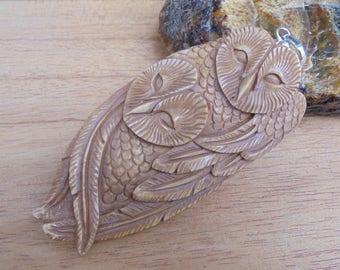 Owl Group Bone Pendant in Brown Color, Bali Bone Carving Jewelry P191 -1