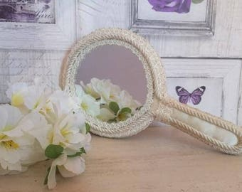 Rare French Lace Hand Mirror