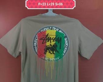 Vintage Stussy Tee Stussy Rasta Shirt Big Logo Shirt Brown Colour Size XL Polo Ralph Lauren Shirts Nike Shirt Band Shirts Bob Marley Skate