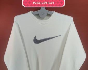 Vintage Nike Sweatshirt Big Logo Shirt White Colour Size L Adidas Sweatshirts Supreme Sweatshirt Sporwear Hip Hop Mtv