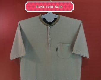 Vintage Michiko London Shirt Half Button Single Pocket Shirt Striped Colour Size L Skate Suffer Santa Peralta Shirts