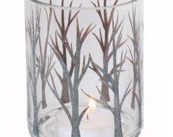 Hurricane Branch Tea Light Holder - Candle Holder - Woodland - Sparkly Tea Light Holder - Blue - Green - Gift For Her - Glitter