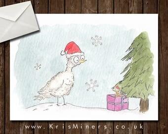 Whimsical Animal Christmas Greetings Card - Christmas Surprise