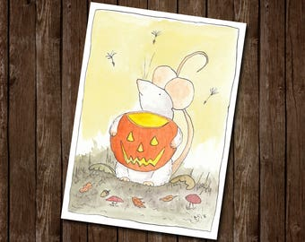 Whimsical Mouse Autumn / Halloween Greetings Card by Kris Miners
