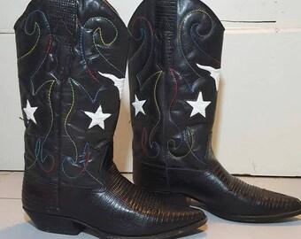 Nine West Vintage Womens Size 7 Black Cowboy Cowgirl Boots