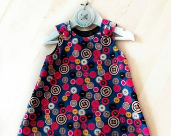 Corduroy Pinafore Dress, Girls Button Print, 6-12 months