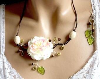 Set flower branch Brown satin beads