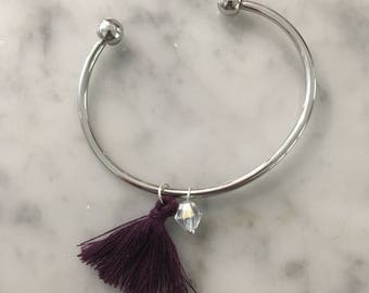 Purple and Charm Tassel Bracelet