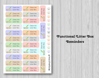 Functional Planner Stickers Litter Box Reminders