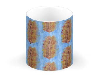 China Mug- Heliconia Leaf Multi Colour on Blue