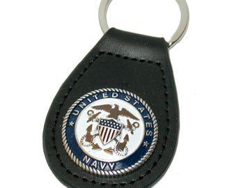 Black Leather US Navy Blue White Logo Key Ring Keyring