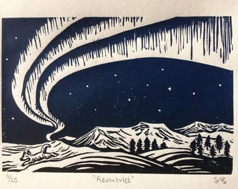 Northern Lights and Arctic Fox Lino Print - Aurora Borealis