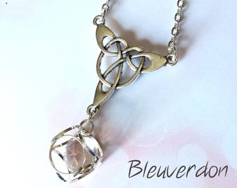 Bird cage rhinestone with Celtic charm necklace