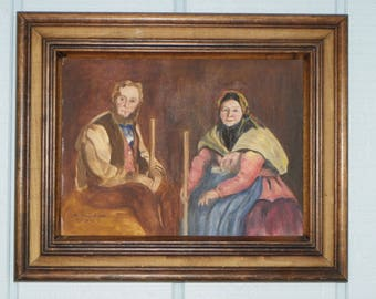 "16""x13"" Framed Painting On Canvas-""Robert Henri Himself & Herself""-Alice Musselman-1971"