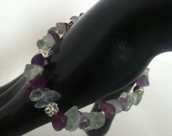 Multi Colour Gemstone Chip Floral Beaded Bracelet