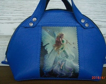 female bag, blue, leather cosmetic case