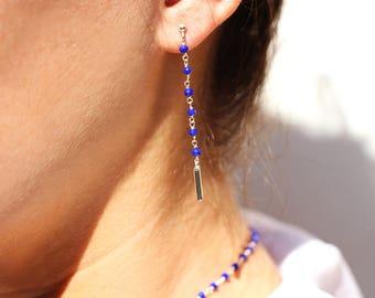 Sterling silver electric blue earrings  - stone earrings - electric blue earrings -pendant earrings -delicate wedding earrings -thin earring