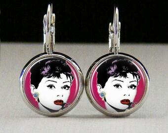 Audrey hepburn Glass bezel earrings audry earrings hepburn jewelry audrey gift photo art custom photo earrings photo jewelry glass jewelry