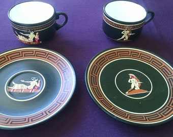 Greek Hand-Painted Demitasse (Espresso) Cup and Saucer Set