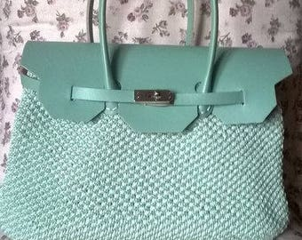 Bag birkin made in light blue with crochet and eco leather body and handles