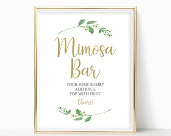 Mimosa Bar Sign Bridal Shower Sign Wedding Sign Bubbly Bar Sign Wedding Bar Sign Mimosa Bar Print Instant Download 8x10, 5x7, 4x6 Jasmine