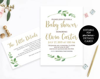 Baby Shower Invitation Template Baby Shower Invite Baby Shower Printable Editable PDF DIY Baby Shower Baby Garden Party Shower Invitations